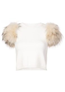 Alice + Olivia Ciara rabbit fur-trimmed top