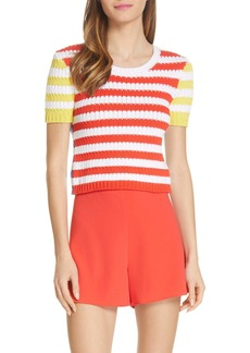 Alice + Olivia Ciara Stripe Short Sleeve Crop Sweater