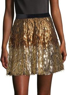 Alice + Olivia Cina Embellished Glitter Tassel Mini Skirt