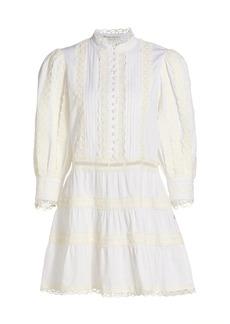 Alice + Olivia Clark Embroidered Tier Mini Dress