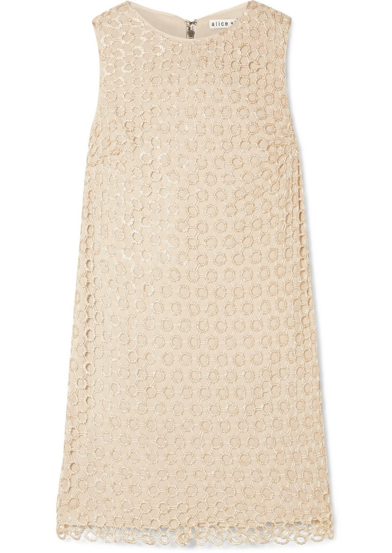 Alice + Olivia Clyde Sequined Crochet-knit Mini Dress