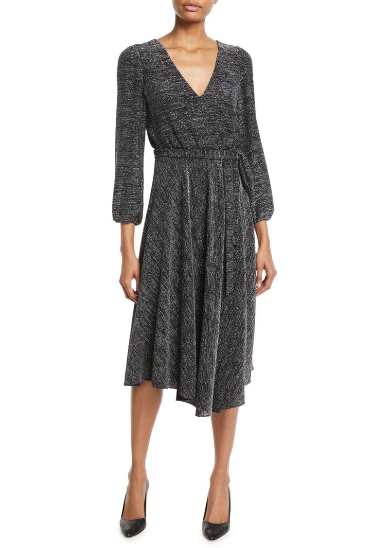 Alice + Olivia Coco Plunging Long-Sleeve Space-Dye Midi Dress