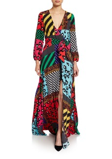 Alice + Olivia Coco Snake-Print Mock-Wrap Blouson-Sleeve Maxi Dress