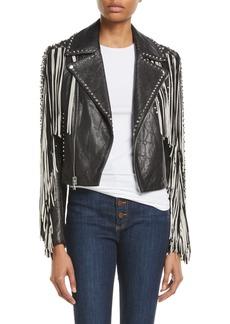 Alice + Olivia Cody Fringe Leather Moto Jacket