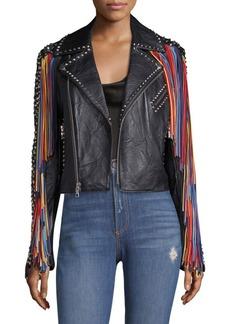 Alice + Olivia Cody Leather Moto Jacket