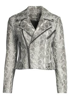 Alice + Olivia Cody Snake-Print Leather Jacket