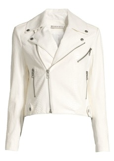 Alice + Olivia Cody Snakeskin Embossed Leather Moto Jacket