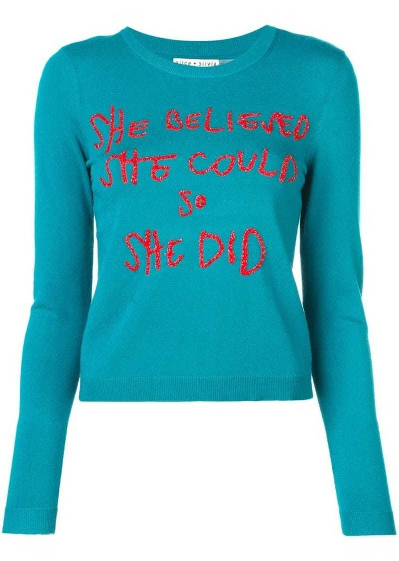 Alice + Olivia Connie crew neck jumper