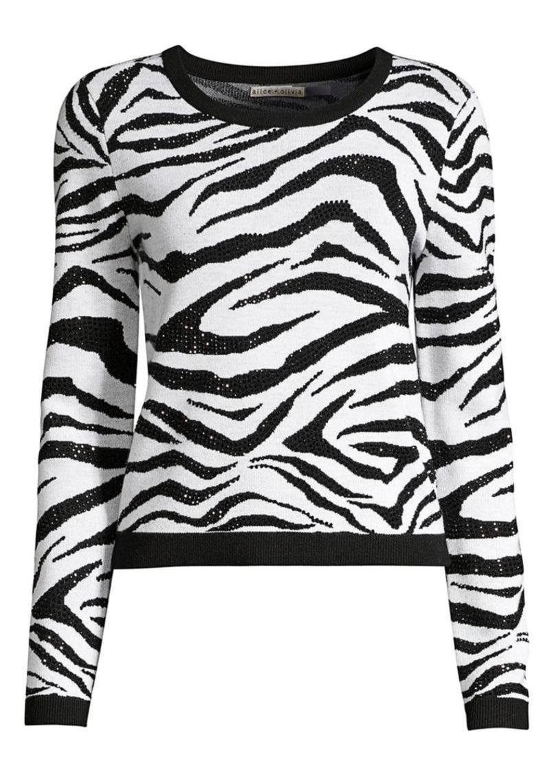 Alice + Olivia Connie Embellished Stretch-Wool Zebra Sweater