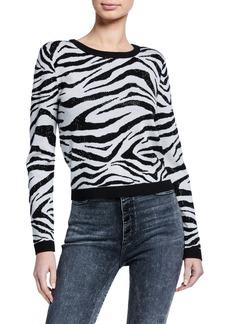 Alice + Olivia Connie Embellished Zebra Stripe Sweater
