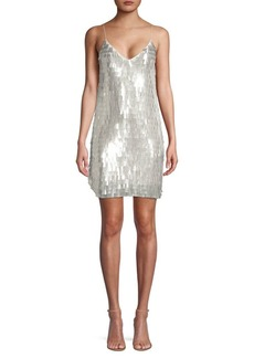 Alice + Olivia Contessa Sequin V-Neck Slip Dress