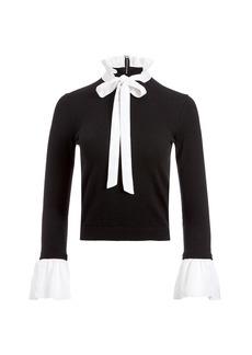Alice + Olivia Cornelia Wool & Silk-Blend Tieneck Sweater