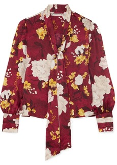 Alice + Olivia Crogan Floral-print Hammered Silk-satin Blouse