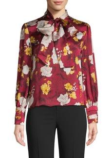 Alice + Olivia Crogran Floral Silk Tie Blouse