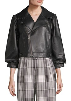 Alice + Olivia Cropped Leather Moto Jacket