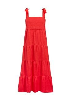 Alice + Olivia Cynthia Tiered Tie-Strap Midi Dress