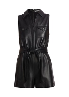 Alice + Olivia Dallas Leather Romper