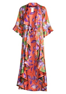 Alice + Olivia Dandi Reversible Leaf Print Ruffle Kimono