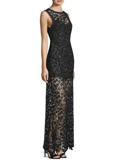 Alice + Olivia Danielle Lace Sheer Maxi Dress