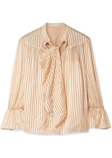 Alice + Olivia Danika Pussy-bow Striped Satin And Chiffon Blouse