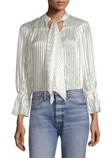 Alice + Olivia Danika Tie-Neck Striped Blouse