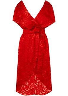 Alice + Olivia Darva Wrap-effect Fil Coupé Chiffon Midi Dress
