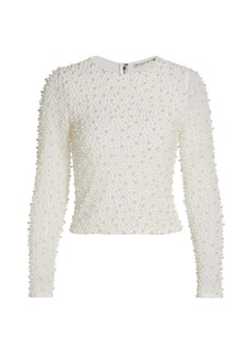 Alice + Olivia Delaina Embellished Crop Top