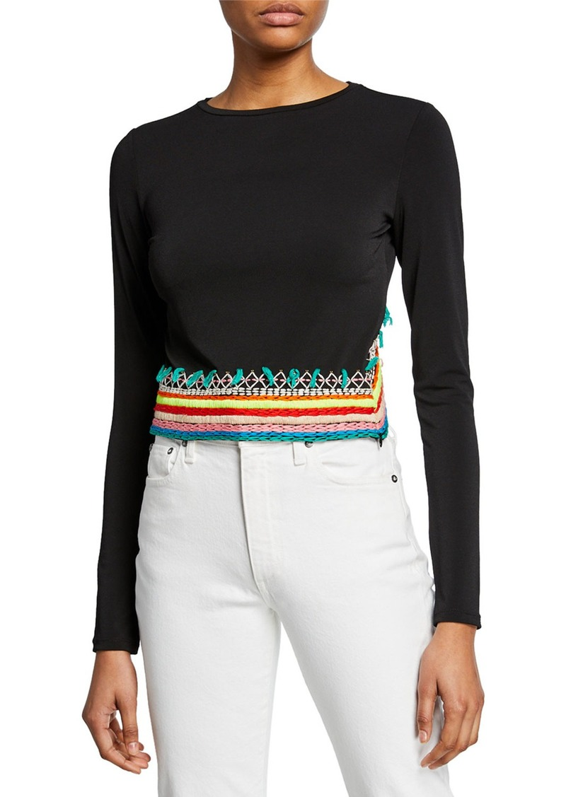 Alice + Olivia Delaina Embroidered Long-Sleeve Crop Top