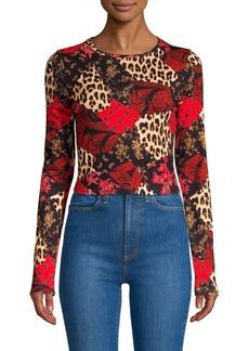 Alice + Olivia Delaina Floral & Leopard Patchwork Top