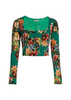 Alice + Olivia Delaina Floral Long-Sleeve Crop Top