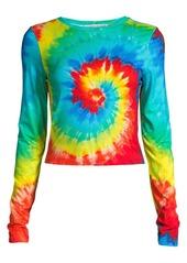 Alice + Olivia Delaina Rainbow Tie Dye Crew Top