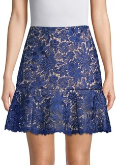Alice + Olivia Delma Fit-&-Flare Lace Skirt