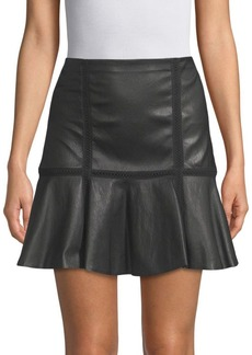 Alice + Olivia Delma Flared Leather Skirt