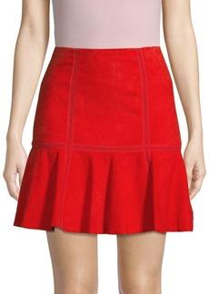 Alice + Olivia Delma Suede-Flounce Hem Mini Skirt