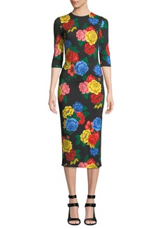 Alice + Olivia Delora Fitted Floral Crewneck Dress