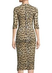 Alice + Olivia Delora Fitted Leopard Mock-Neck Dress