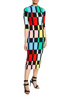 Alice + Olivia Delora Fitted Mock-Neck Colorblock Dress