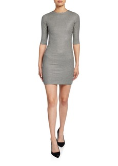 Alice + Olivia Delora Herringbone Crewneck 1/2-Sleeve Mini Dress