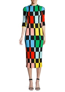 Alice + Olivia Delora Knit Colorblock Sheath Dress