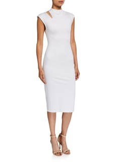Alice + Olivia Delora Mock-Neck Cutout Dress