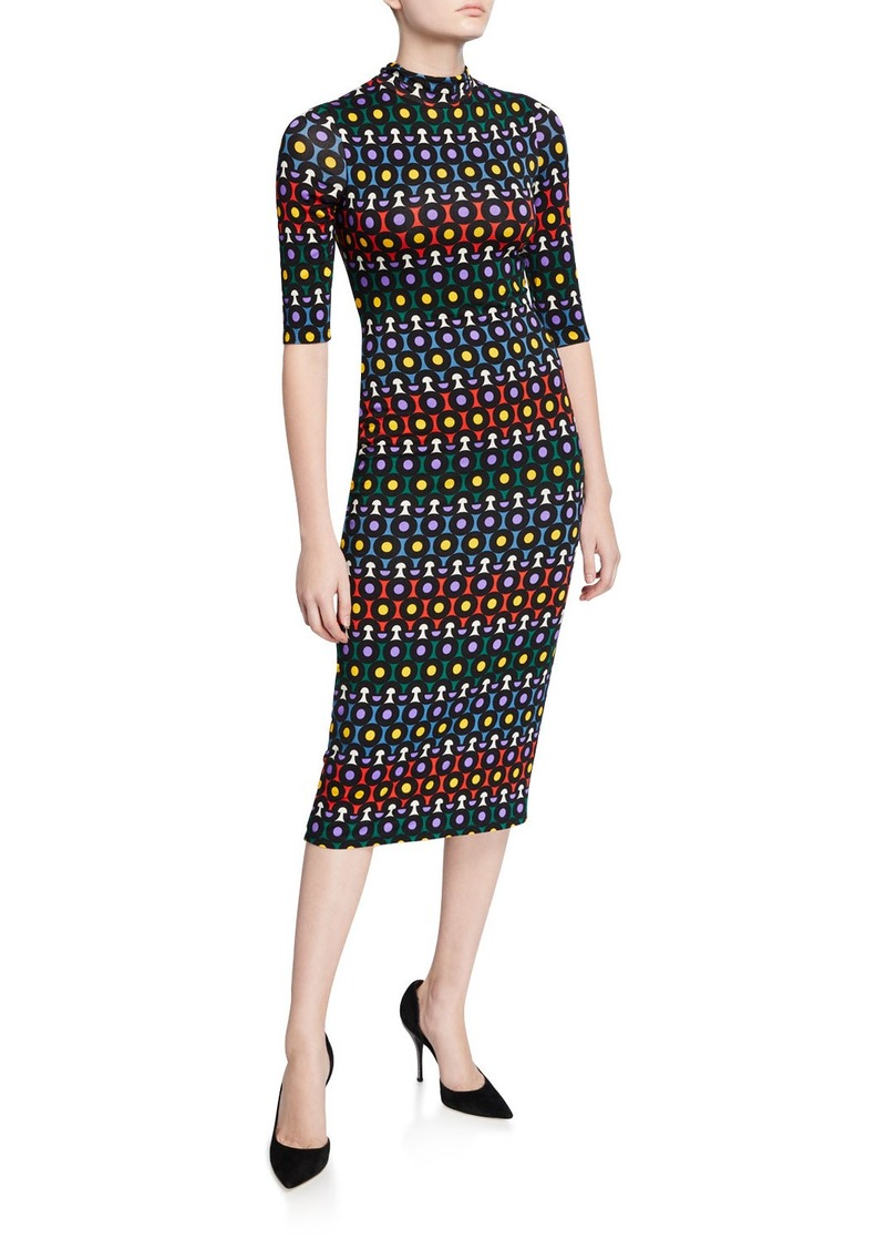 Alice + Olivia Delora Printed Mock-Neck Elbow-Sleeve Fitted Midi Dress