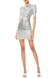 Alice + Olivia Delora Ruched Metallic Midi Dress