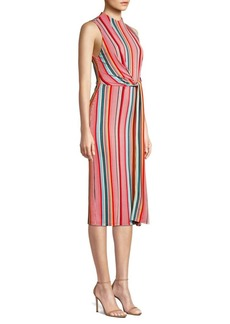 Alice + Olivia Delora Sleeveless Tie Waist Stripe Dress