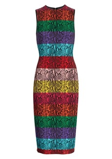 Alice + Olivia Delora Snake Print Stripe Sheath Dress