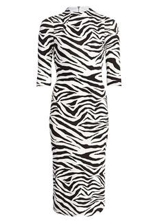Alice + Olivia Delora Zebra-Print Sheath Dress
