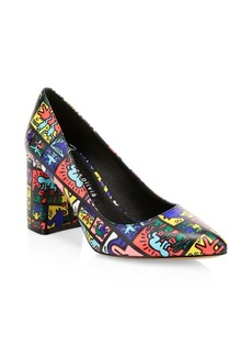 Keith Haring x Alice + Olivia Demetra Graphic Print Leather Pumps