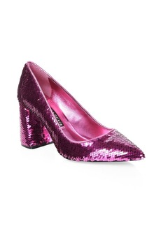 Alice + Olivia Demetra Sequin Block Heels