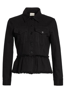 Alice + Olivia Denim Flounce Hem Jacket