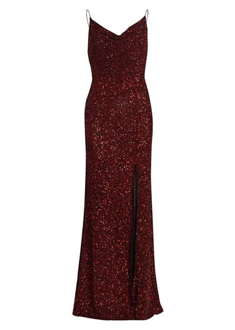 Alice + Olivia Diana Embellished Cowlneck Gown