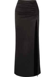 Alice + Olivia Diana Ruched Satin Maxi Skirt